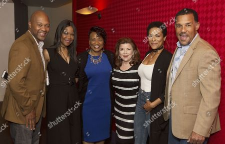 """Actors working with Tyler Perry pose with Bernice King (left to right) Palmer Williams Jr, Angela Robinson, Dr. Bernice A King, Renee Lawless, April Parker Jones & Peter Parros the Television Academy's first member event in Atlanta, """" A Conversation with Tyler Perry,"""" at the Woodruff Arts Center on"""
