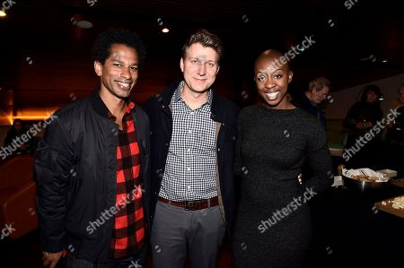 "Moderator Toure, Writer/Director Jeff Nichols and Associate Producer Oge Egbuonu seen at ACLU and Focus Features ""Loving"" Special Screening at The Landmark, in Los Angeles, CA"