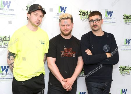 Thom Green, from left, Joe Newman and Gus Unger-Hamilton of the band Alt-J visit the Radio 104.5 Performance Theater, in Philadelphia