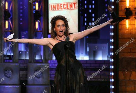 "Rebecca Taichman accepts the award for best direction of a play for ""Indecent"" at the 71st annual Tony Awards, in New York"