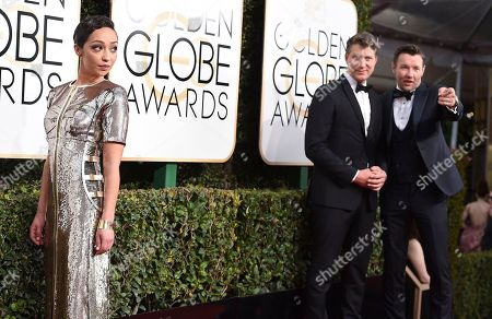 Ruth Negga, from left, Jeff Nichols, and Joel Edgerton arrive at the 74th annual Golden Globe Awards at the Beverly Hilton Hotel, in Beverly Hills, Calif
