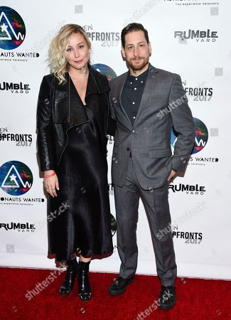 Stock Image of SVP Branded Entertainment Christine Murphy, left, and VP Business Development Jonny Blitstein attend the Astronauts Wanted and Rumble Yard joint NewFront Presentation 2017 at Sony Music Headquarters, in New York