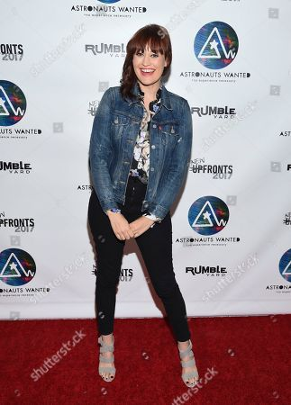 Comedian Mamrie Hart attends the Astronauts Wanted and Rumble Yard joint NewFront Presentation 2017 at Sony Music Headquarters, in New York