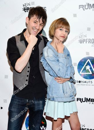 Stock Picture of Producer and musician Kurt Hugo Schneider, left, and singer-songwriter Grace VanderWaal attend the Astronauts Wanted and Rumble Yard joint NewFront Presentation 2017 at Sony Music Headquarters, in New York