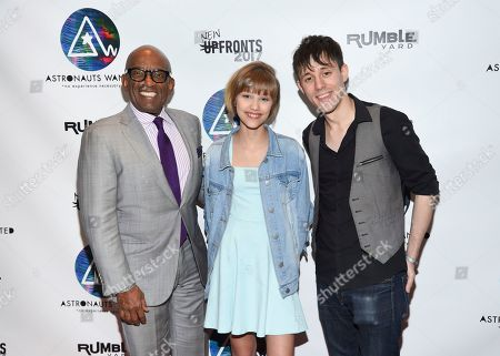 Stock Image of Television personality Al Roker, from left, musician Grace VanderWaal and musician Kurt Hugo Schneider attends the Astronauts Wanted and Rumble Yard joint NewFront Presentation 2017 at Sony Music Headquarters, in New York