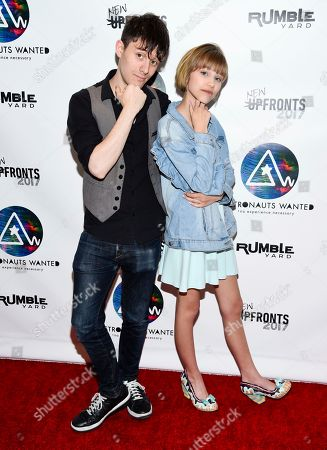 Producer and musician Kurt Hugo Schneider, left, and singer-songwriter Grace VanderWaal attend the Astronauts Wanted and Rumble Yard joint NewFront Presentation 2017 at Sony Music Headquarters, in New York