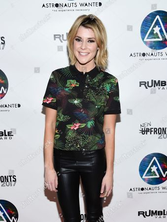 Comedian Grace Helbig attends the Astronauts Wanted and Rumble Yard joint NewFront Presentation 2017 at Sony Music Headquarters, in New York