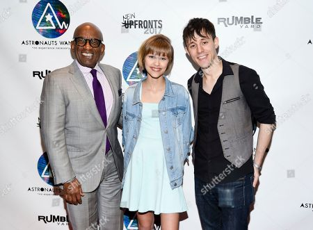 Television personality Al Roker, left, singer-songwriter Grace VanderWaal and producer and musician Kurt Hugo Schneider attend the Astronauts Wanted and Rumble Yard joint NewFront Presentation 2017 at Sony Music Headquarters, in New York