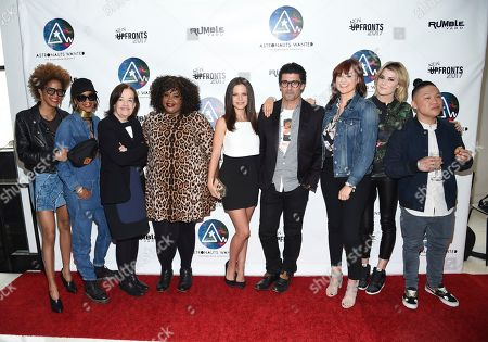 Corianna Dotson, left, Brianna Dotson, Judy McGrath, Nicole Byer, Tammin Sursok, Nick Shore, Mamrie Hart, Grace Helbig and Timothy DeLaGhetto pose together at the Astronauts Wanted and Rumble Yard joint NewFront Presentation 2017 at Sony Music Headquarters, in New York