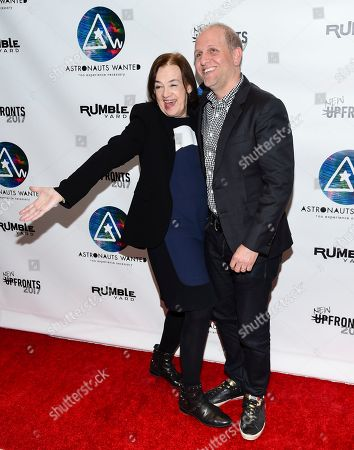 Stock Photo of Astronauts Wanted president Judy McGrath, left, and Lee Stimmel, head of original content at Sony Music Entertainment, attend the Astronauts Wanted and Rumble Yard joint NewFront Presentation 2017 at Sony Music Headquarters, in New York