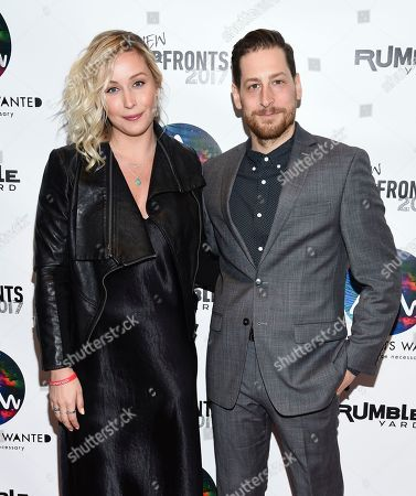 SVP Branded Entertainment Christine Murphy, left, and VP Business Development Jonny Blitstein attend the Astronauts Wanted and Rumble Yard joint NewFront Presentation 2017 at Sony Music Headquarters, in New York