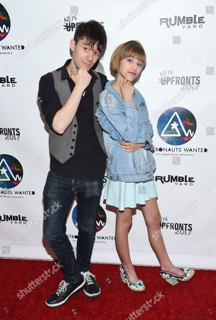 Stock Photo of Producer and musician Kurt Hugo Schneider, left, and singer-songwriter Grace VanderWaal attend the Astronauts Wanted and Rumble Yard joint NewFront Presentation 2017 at Sony Music Headquarters, in New York