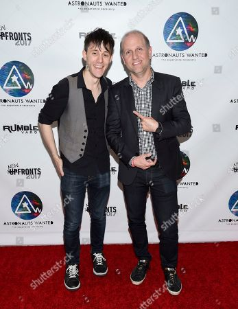 Producer and musician Kurt Hugo Schneider, left, Lee Stimmel, head of original content at Sony Music Entertainment, attend the Astronauts Wanted and Rumble Yard joint NewFront Presentation 2017 at Sony Music Headquarters, in New York