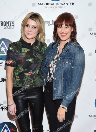 Comedians Grace Helbig, left, and Mamrie Hart attend the Astronauts Wanted and Rumble Yard joint NewFront Presentation 2017 at Sony Music Headquarters, in New York
