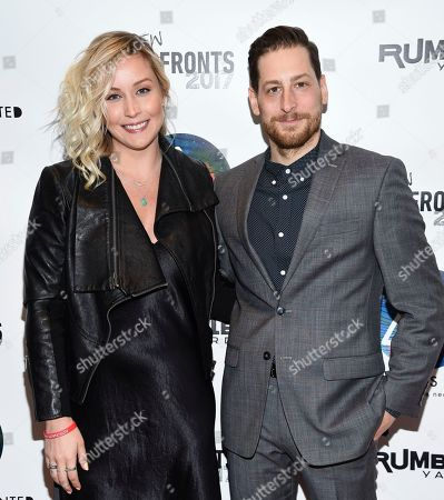 Stock Photo of SVP Branded Entertainment Christine Murphy, left, and VP Business Development Jonny Blitstein attend the Astronauts Wanted and Rumble Yard joint NewFront Presentation 2017 at Sony Music Headquarters, in New York