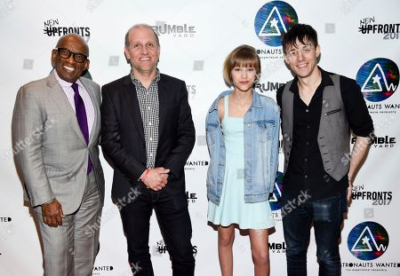 Television personality Al Roker, left, Lee Stimmel, head of original content at Sony Music Entertainment, singer-songwriter Grace VanderWaal and producer and musician Kurt Hugo Schneider attend the Astronauts Wanted and Rumble Yard joint NewFront Presentation 2017 at Sony Music Headquarters, in New York