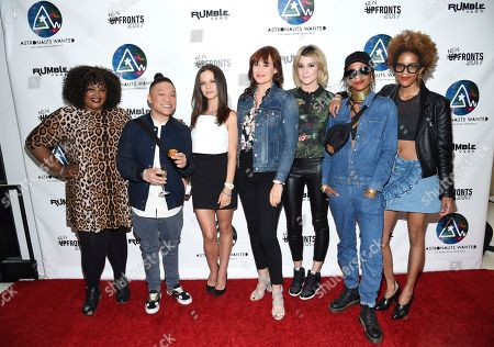 Talent, from left, Nicole Byer, Timothy DeLaGhetto, Tammin Sursok, Mamrie Hart, Grace Helbig, Brianna Dotson and Corianna Dotson pose together at the Astronauts Wanted and Rumble Yard joint NewFront Presentation 2017 at Sony Music Headquarters, in New York