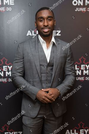 Actor Demetrius Shipp Jr poses for photographers upon arrival at the screening of All Eyez On Me, the new Tupac Shakur biopic, at a central London hotel