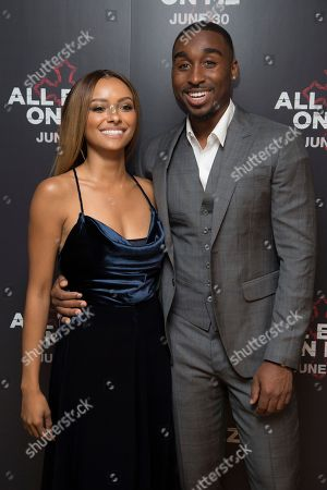 Actors Demetrius Shipp Jr and Kat Graham pose for photographers upon arrival at the screening of All Eyez On Me, the new Tupac Shakur biopic, at a central London hotel