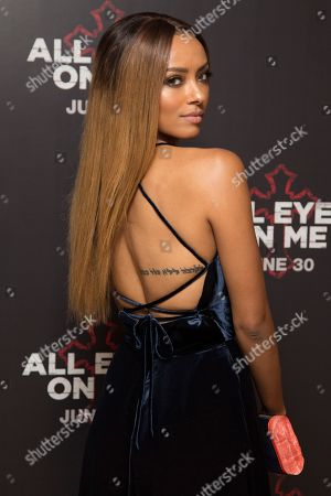Actress Kat Graham poses for photographers upon arrival at the screening of All Eyez On Me, the new Tupac Shakur biopic, at a central London hotel
