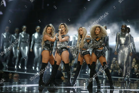 Stock Image of Members of the group Little Mix from left, Jesy Nelson, Perry Edwards, Jade Thirwall and Leigh-Ann Pinnock on stage at the Brit Awards 2017 in London