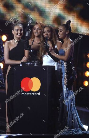 Stock Picture of Members of the group Little Mix from left, Perry Edwards, Jesy Nelson, Jade Thirwall and Leigh-Ann Pinnock accept the award for Best British Single on stage at the Brit Awards 2017 in London