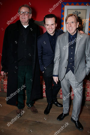 Actors Tom Wilkinson, from left, Andrew Scott,Timothy Spall, pose for photographers upon arrival at the Denial screening in central London