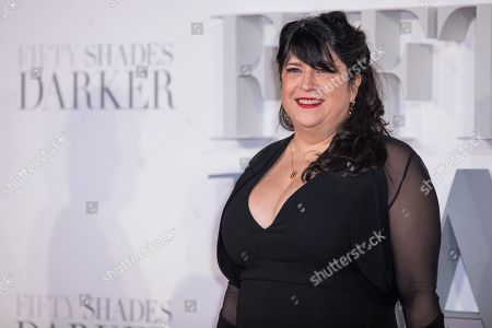 Novelist E L James poses for photographers upon arrival at the premiere of the film 'Fifty Shades Darker', in London