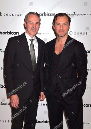 Director Ivo Van Hove with actor Jude Law at the press night for Ivo Van Hove's production of 'Obsession' staring Jude Law at the Barbican in London