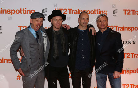 L-R) Actors Ewan Bremner, Ewan McGregor, Johnny Lee Miller and Robert Carlyle poses for photographers upon arrival at the World Premiere of the film 'T2 Trainspotting', in Edinburgh