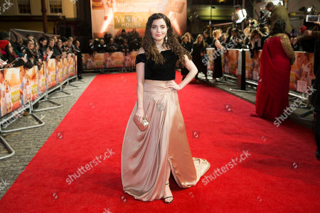 Armeena Khan poses for photographers during the premiere for the film 'Viceroy's House' in London