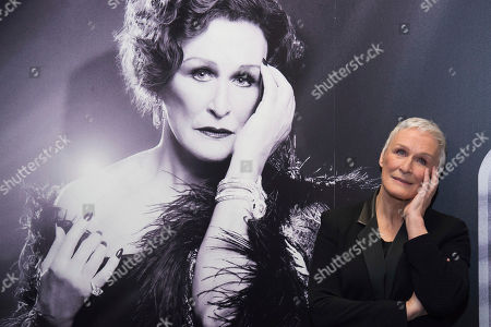 """Glenn Close posing at a media opportunity to promote the Broadway revival of """"Sunset Boulevard"""", at the Palace Theatre in New York. Close returns as the aging silent film star Norma Desmond. The English National Opera's stripped-down revival of the Andrew Lloyd Webber musical will land with a 40-piece orchestra under the direction of Lonny Price. Close won a Tony Award in 1995 as Desmond"""