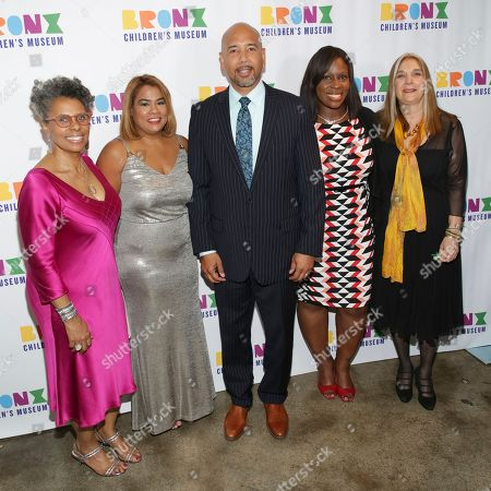 President of the Bronx Children's Museum Hope Harley, from left, city council member Annabel Palma, Bronx borough president Ruben Diaz Jr., council member Vanessa Gibson and executive director of the Bronx Children's Museum Carla Precht attend the Bronx Children's Museum benefit gala at The Tribeca Rooftop, in New York