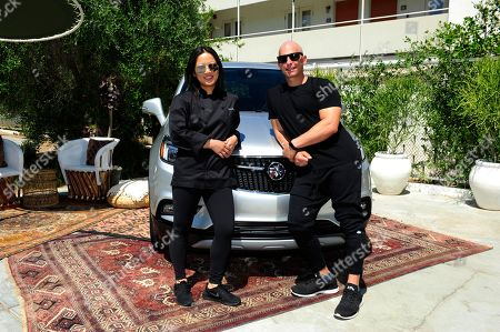 Stock Image of Buick Encore Backstage Classes hosted by chef Bo O'Connor, left, and celebrity trainer Harley Pasternak at the Ace Hotel and Swim Club, in Palm Springs, Calif. This wel, lness event showed festival goers how to stay fit and healthy while road tripping