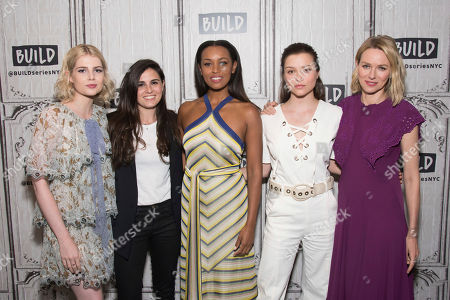 """Lucy Boynton, left, Lisa Rubin, Melanie Liburd, Sophie Cookson and Naomi Watts participate in the BUILD Speaker Series to discuss the Netflix's series """"Gypsy"""" at AOL Studios, in New York"""