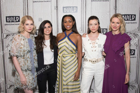 """Stock Photo of Lucy Boynton, left, Lisa Rubin, Melanie Liburd, Sophie Cookson and Naomi Watts participate in the BUILD Speaker Series to discuss the Netflix's series """"Gypsy"""" at AOL Studios, in New York"""