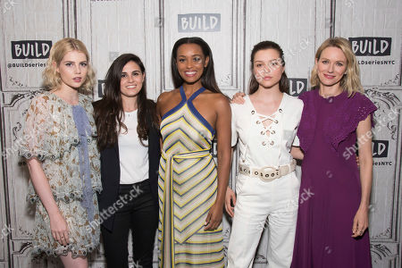 """Stock Image of Lucy Boynton, left, Lisa Rubin, Melanie Liburd, Sophie Cookson and Naomi Watts participate in the BUILD Speaker Series to discuss the Netflix's series """"Gypsy"""" at AOL Studios, in New York"""
