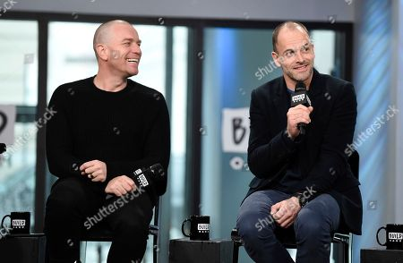 """Actors Ewan McGregor, left, and Jonny Lee Miller participate in the BUILD Speaker Series to discuss the film, """"T2 Trainspotting"""", at AOL Studios, in New York"""