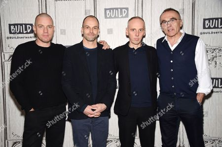 """Actors Ewan McGregor, left, Jonny Lee Miller and Ewen Bremner pose with director Danny Boyle, right, backstage at the BUILD Speaker Series to discuss the film, """"T2 Trainspotting"""", at AOL Studios, in New York"""