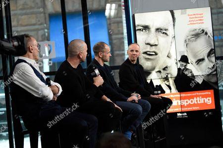 "Director Danny Boyle, left, and actors Ewan McGregor, Jonny Lee Miller and Ewen Bremner participate in the BUILD Speaker Series to discuss the film, ""T2 Trainspotting"", at AOL Studios, in New York"