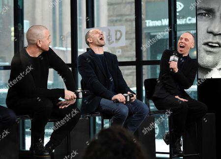 "Actors Ewan McGregor, left, Jonny Lee Miller and Ewen Bremner participate in the BUILD Speaker Series to discuss the film, ""T2 Trainspotting"", at AOL Studios, in New York"