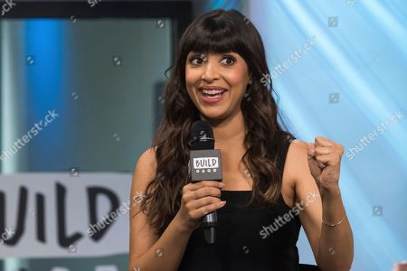 """Hannah Simone participates in the BUILD Speaker Series to discuss the FOX competition show """"Kicking & Screaming"""" at AOL Studios, in New York"""