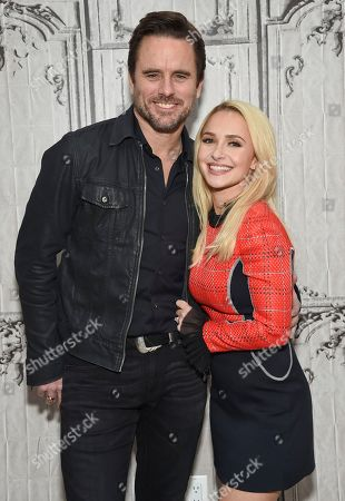 "Actors Charles Esten, left, and Hayden Panettiere participate in BUILD Speaker Series to discuss the television series ""Nashville"" at AOL Studios, in New York"