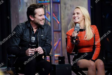 "Actors Hayden Panettiere, right, and Charles Esten participate in BUILD Speaker Series to discuss the television series ""Nashville"" at AOL Studios, in New York"