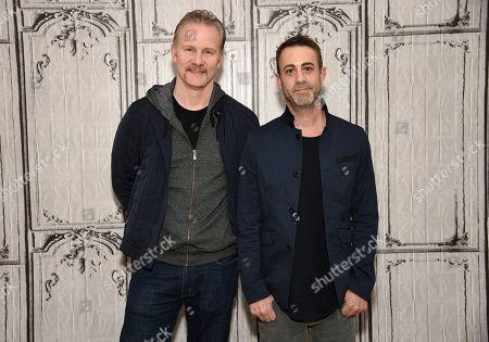"Filmmakers Morgan Spurlock, left, and Matt Ogens participate in the BUILD Speaker Series to discuss the film, ""Go North"", at AOL Studios, in New York"