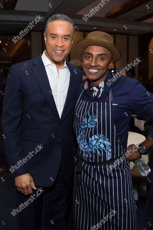 Maurice DuBois, left, and Marcus Samuelsson are seen at the Careers Through Culinary Arts Program (C-CAP) benefit grand tasting event at Pier Sixty, in New York