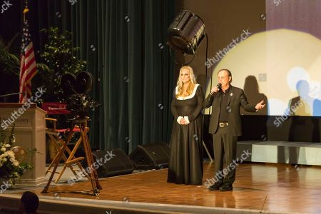 Catherine Hickland, left, and Todd Fisher speak at the Carrie Fisher and Debbie Reynolds Memorial Service at The Forest Lawn, in Los Angeles