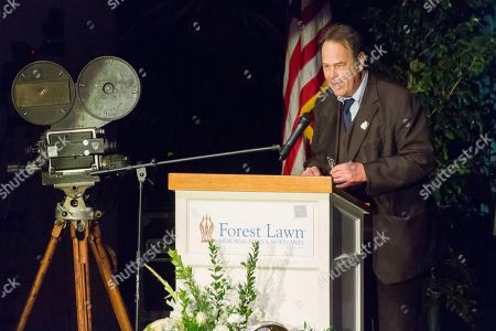Dan Aykroyd speaks at the Carrie Fisher and Debbie Reynolds Memorial Service at The Forest Lawn, in Los Angeles. Laughter, music and the tapping of dancing shoes reverberated throughout a public memorial to Reynolds and Fisher, which loved ones say is just how the actresses would have wanted it