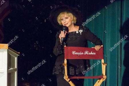 Ruta Lee speaks at the Carrie Fisher and Debbie Reynolds Memorial Service at The Forest Lawn, in Los Angeles