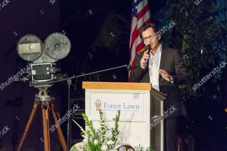 Ben Mankiewicz speaks at the Carrie Fisher and Debbie Reynolds Memorial Service at The Forest Lawn, in Los Angeles